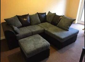 Brand New Dylan Corner Sofa Jumbo Cord & Leather Fabric Delivery Available