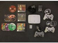 Sony PlayStation 1 PSone with 3 controllers and 2 Abe Oddworld Games Collection Chelsea, London