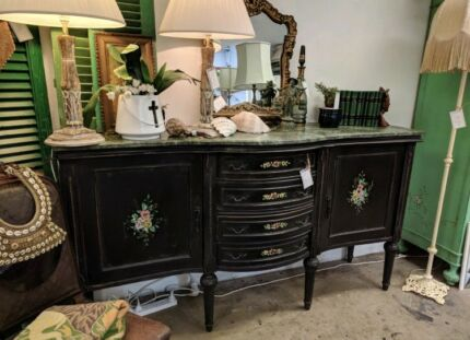 Antique French Sideboard Vintage Marble Topped Provincial Buffet