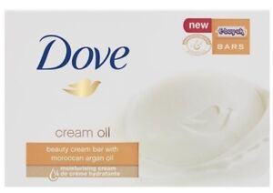 12 x Dove Soap Bars ~ CREAM OIL BEAUTY SOAP Wth Moroccan Argan oil  ~ 12 x 100g