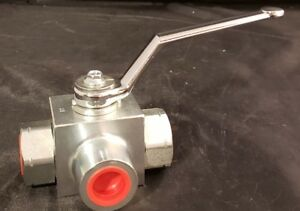 High Pressure Hydraulic Ball Valve 3 way 1/2  NPT Ports Anchor Fluid Power