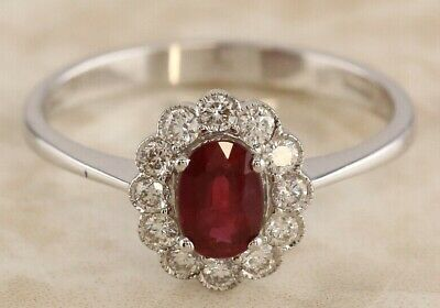 Secondhand 18ct White Gold Oval Ruby Multi Diamond Oval Cluster Ring Size N