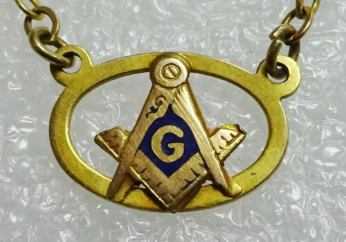 Vintage Hallmarked Masons Masonic Tie Clasp 10K Chain & Signet / Rolled Plate