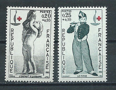 REUNION , RED CROSS , 1963 , 100 YEAR ANNIV. , SET OF 2 O.P. ,  PERF , MNH