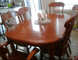 Solid pine table with 6 chairs for sale!