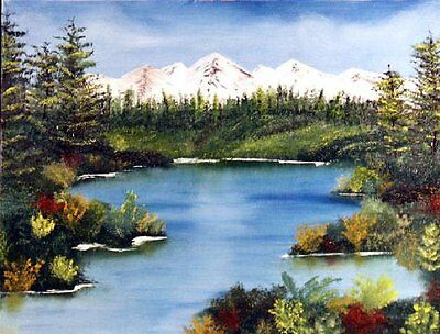 """""""LAKE SCENE'  Orig. oil painting =Orphie Barella Beautiful in YOUR house.."""