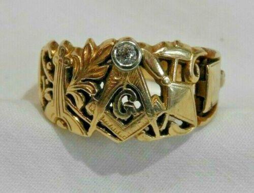 Unique 14K Yellow Gold & Diamond Filigree Masonic Ring Size 9