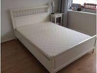 Ikea Hemnes white double bed 140 x 200cm very sturdy