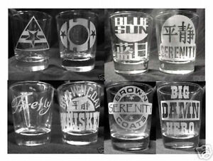 CUSTOM ETCHED FIREFLY / SERENITY SHOT GLASSES! SET OF 8!