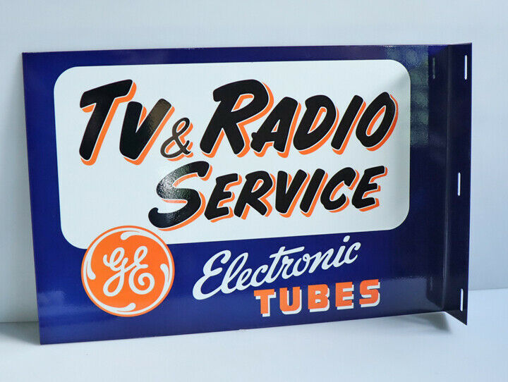 GE TUBES TV & RADIO SERVICE Electronic Tube Flange Sign  Modern Retro