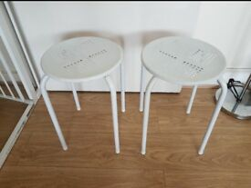 2x Gloss White Metal Stool