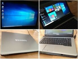 CAN DELIVER fast working multimedial laptop Toshiba with warranty, Windows 10, MS Office, ANtivirus
