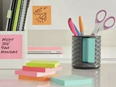 Post-it Note Dispenser W Pen Holder Contmp. Vertical Black With Grey Abs-330-b