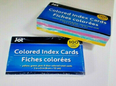 200 Colored Ruled Index Cards In Assorted Colors 3x5