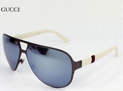 ✅ Gucci Men's Sunglasses GG2252S R8 White / Black Aviator 62mm Authentic !