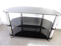 Large black glass 3 tier TV table