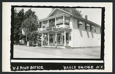 Eagle Bridge, New York Post Office Signs Mobil Gas 1950s ~ RECENT Arrival