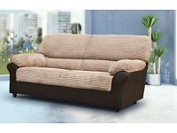 BRAND NEW FABRIC CANDY 3 SEATER SOFA BROWN + DELIVERY
