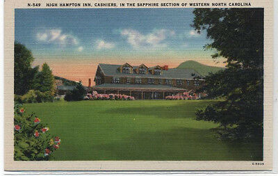 High Hampton Inn Cashiers Western North Carolina Linen Postcard