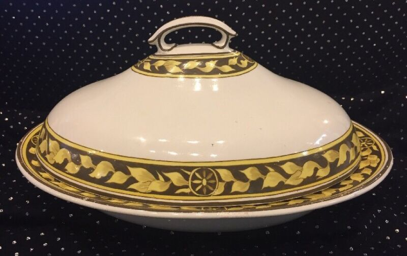 Large Antique Spode Soft Paste Creamware Covered Serving Dish Tureen