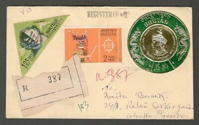 AOP Bhutan registered cover to India with round gold foil stamp 25ch
