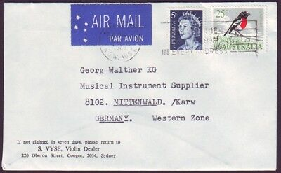 1969 AIRMAIL LETTER TO GERMANY WITH 25c BIRD AND 5c QEII (RU4041)