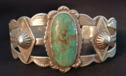 "VTG Sterling Silver Native American Navajo Turquoise 6.25"" Cuff 925 Bracelet 29g"