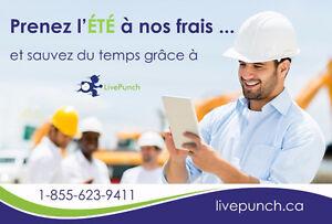 Logiciel Live Punch pour la : Gestion de temps, Bon travail, ...