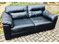 PAIR OF BLACK LEATHER 2 SEATER SOFAS £75 CAN DELIVER
