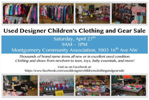Used Designer Children's Clothing and Gear Sale April 27th 9-1pm