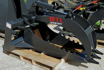 Mtl Extreme Quick Attach Skid Steer Stump Grapple Bucket W 1 Edge - Ship 149