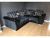 Black/Silver Corner Sofa