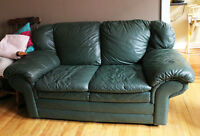 Gently Used Leather Couch set - Dark Green