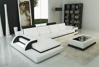Modern White Leather Sectional Sofa w/Lighting