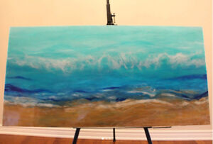 """SALE: Resin + Acrylic Seascape Painting on Wood (40"""" by 20"""")"""