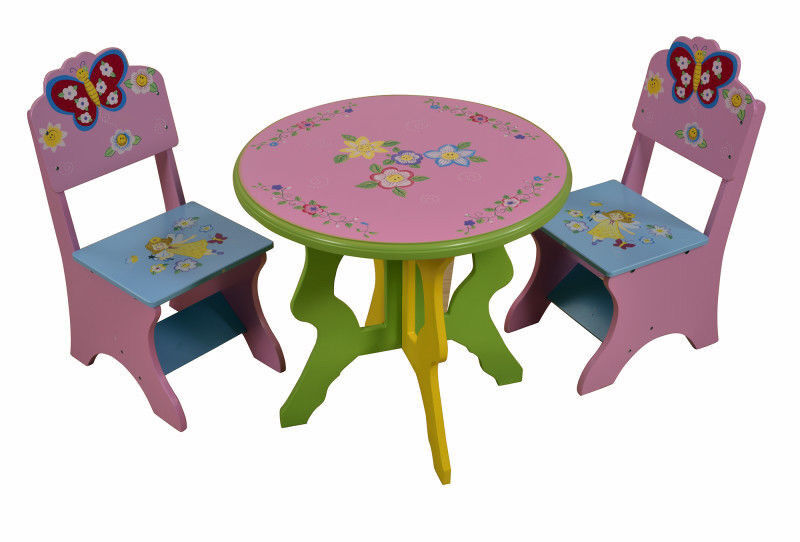 Kids Table And Chair Set Childrens Table And Chairs Pastel Pink Butterfly Flower