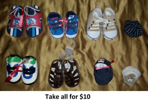 0-3 Mths Baby Boy Shoes Lot 1 (Take 8 Pairs for $10)