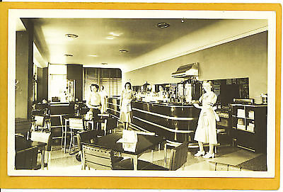 Real Photo Postcard Rppc Tea Room Empire State Bldg Ny