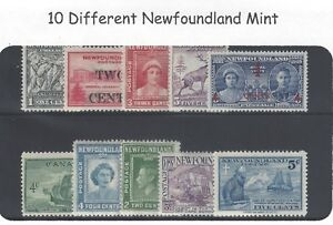 10 Different Genuine Newfoundland Mint Stamps