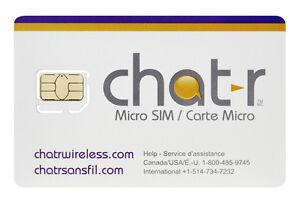 Carte Sim Chatr Fido Rogers Koodo  telus 8$ sim card