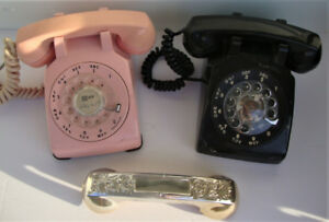 Rotary Dial Telephones - Set of Two - Black and Pink!