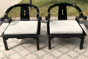 Set of 2 Asian black lacquer chairs with brass accents