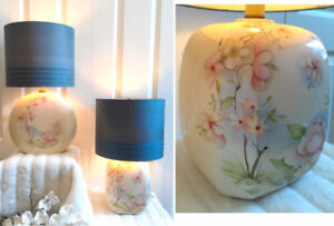 2 Beautiful Floral Porcelain Table Lamps (TEXT/CALL Pls)