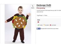 NEW DRESSING UP HAMBURGER FOOD OUTFIT AGED 3 plus