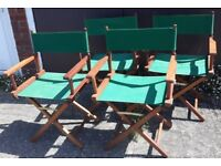Set Of Four Folding Canvas And Teak Director's Chairs Garden Patio