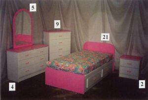 7 piece Pink and White Kids Bedroom Suite **Brand New**