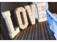 Large Light Up Love Letters - Weddings, Events etc