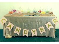 Sweet jars bunting scoops for wedding candy bar