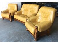 Chesterfield Style Quality Leather&Oak Mustard Yellow 3 Piece Sofa Set.WE DELIVER
