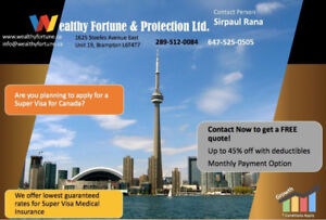 SUPER VISA, TRAVEL AND VISITORS INSURANCE AT BEST LOWEST RATES.